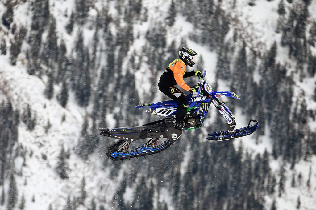Canadian Cody Matechuk of Cochrane, Alberta, competes Saturday in the snowbike cross. He won golf for the third consecutive year. (Dale Pistole/Special to The Aspen Times)