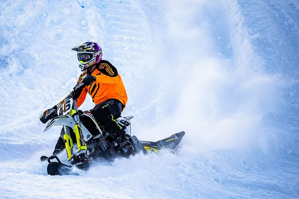 Harris Huizenga competes in the snow bikecross finals at X Games Aspen on Saturday, Jan. 25, 2020, at Buttermilk Ski Area in Aspen Snowmass, Colo. (Liz Copan/Summit Daily News via AP)