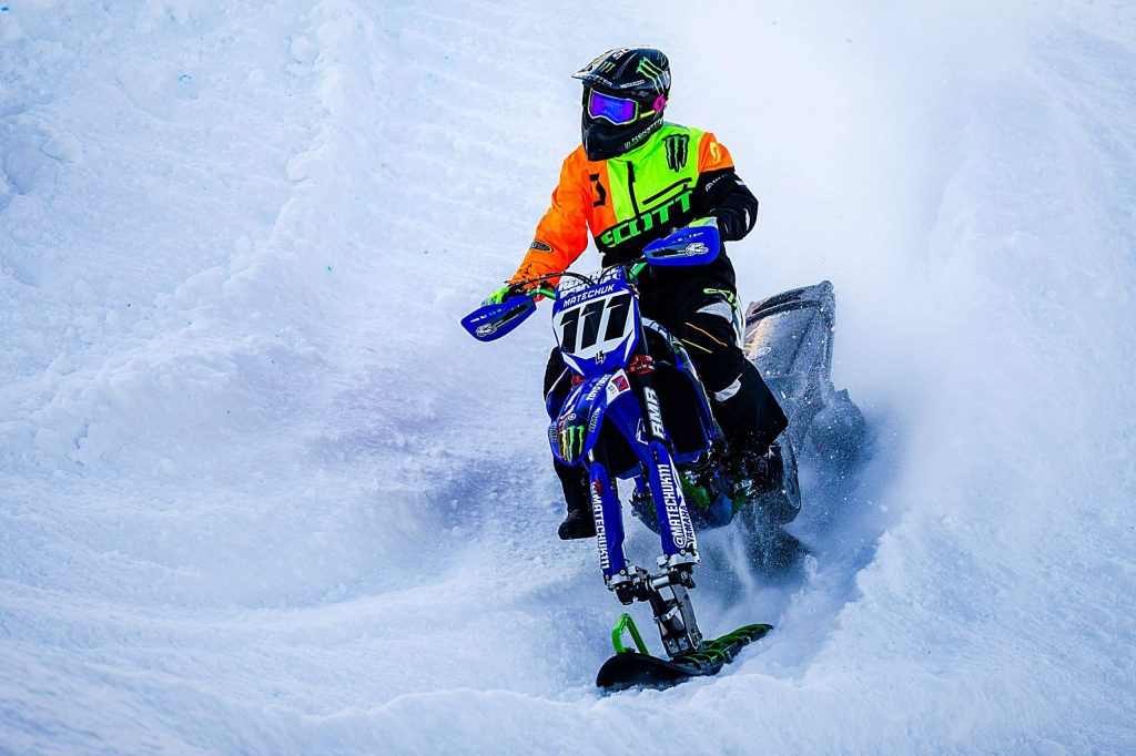 Cody Matechuk competes in the snow bikecross finals at X Games Aspen on Saturday, Jan. 25, 2020, at Buttermilk Ski Area in Aspen Snowmass, Colo. (Liz Copan/Summit Daily News via AP)