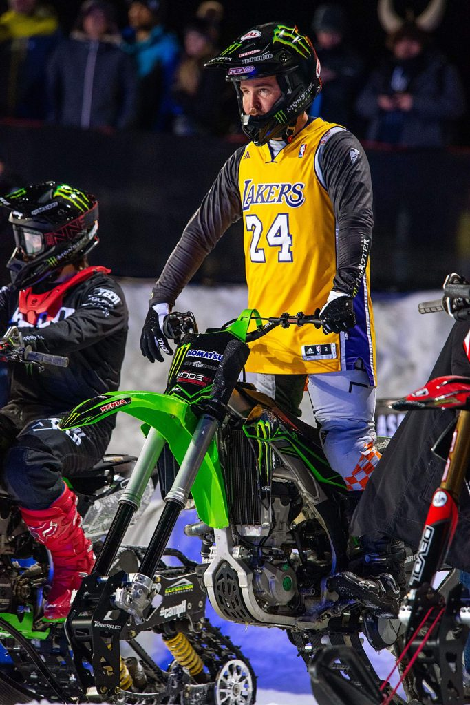 Snow bike athlete Jackson Strong competes in the snow bike best trick final in a Kobe Bryant jersey.