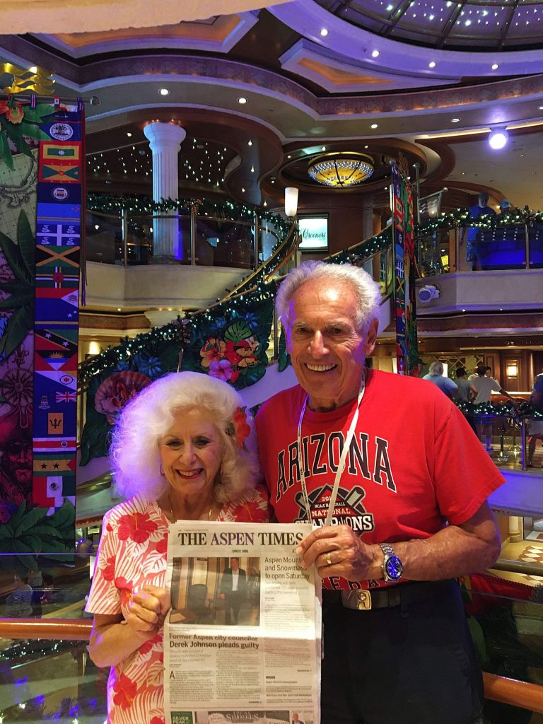 Larry and Marjie Aleamoni hold up an Aspen Times while recently aboard the Crown Princess cruise ship in the southern Caribbean. Email your