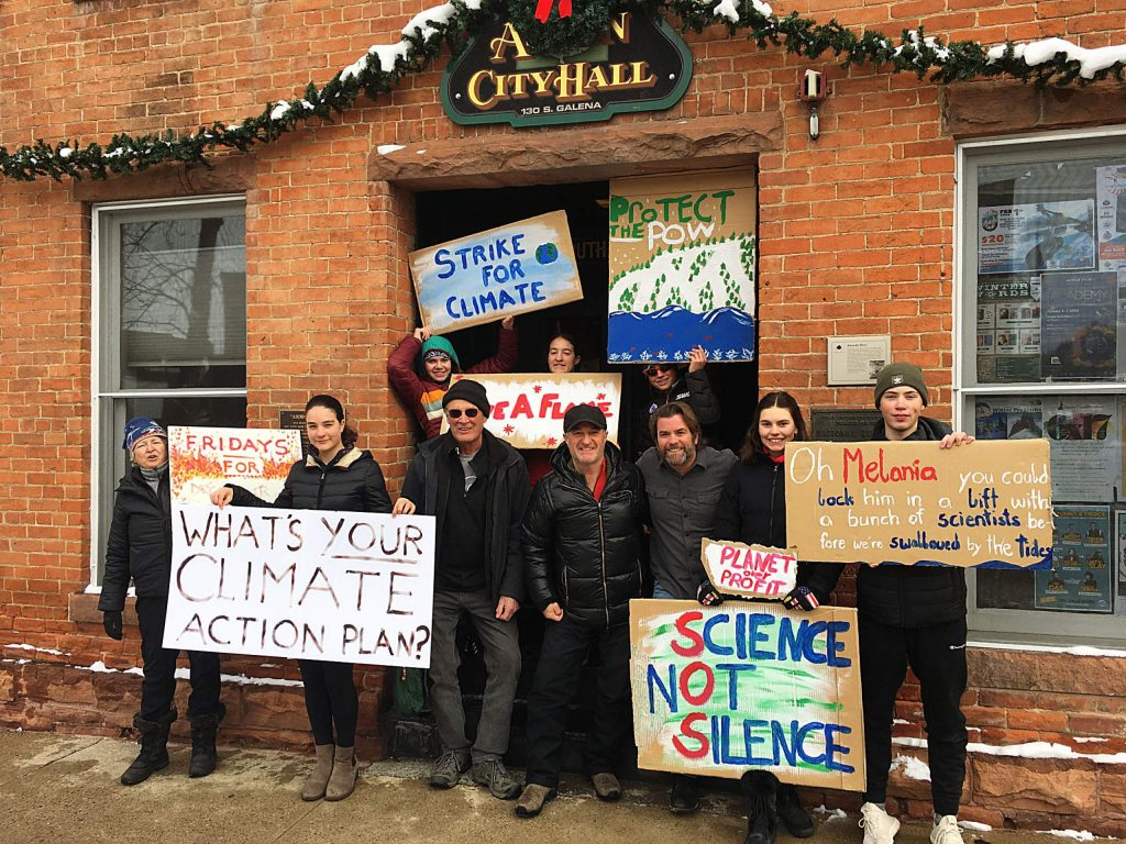 Pitkin County Commissioner Steve Child, Aspen Mayor Torre and Commissioner Greg Poschman joined Aspen Junior Environmentalists and some visitors on Jan. 3 in front of City Hall. The first Fridays for Future event of 2020 was initiated by Ziska Childs (far left).