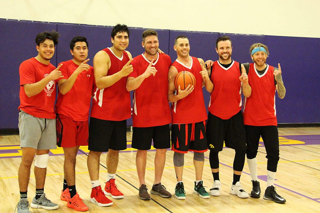 The Glenwood Boyz recently claimed the Adult League basketball title following a 10-week season and two-week single-elimination tournament. Pictured, from left to right, are Chano Gonzalez, Kevin Ayon, Kevin Lagunas, Kyle Kappeli, Robert Peters, Philip Riley, and Chad (not pictured are Zach Johnson and Pedro Rivera).