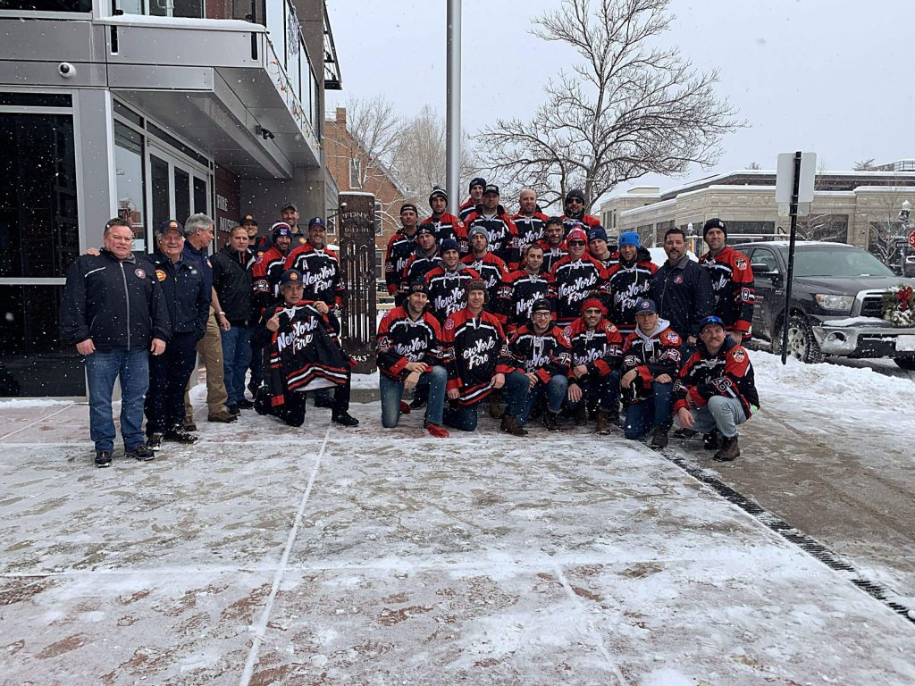 Members of the New York Fire Department were in Aspen this past week and in addition to a hockey game against the Aspen Leafs they also stopped by the Aspen Fire Station on Hopkins Avenue to posed for a photo near a piece of the World Trade Center.
