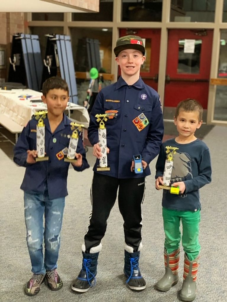 Pictured from left to right are Sheldon Gentry, a Webelo; Josh Stephen, a Webelo II; and Kai Waanders, a Tiger (Scout Ranks). The three won the overall speed awards at the Aspen/Snowmass Cub Scout Pack 224's annual Pinewood Derby event held Wednesday at the Aspen Elementary School cafeteria.