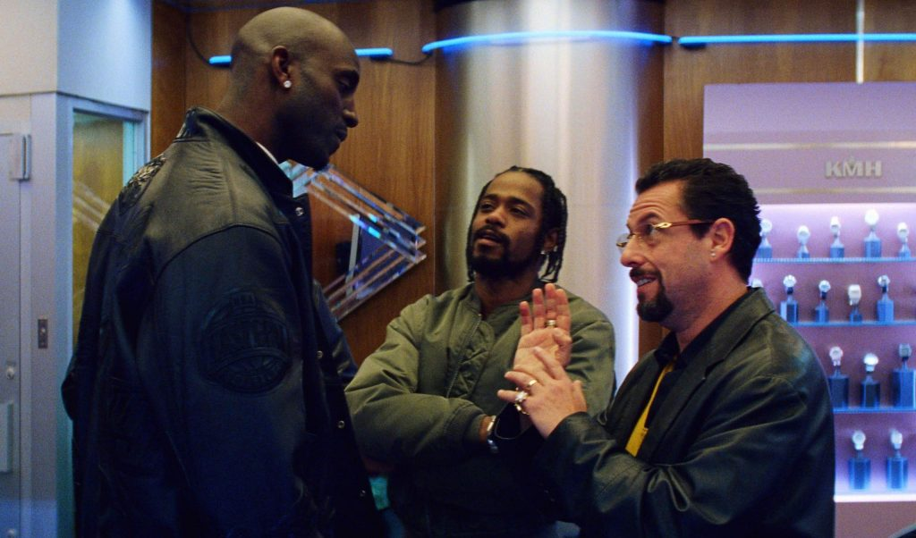 Adam Sandler with Kevin Garnett and Lakeith Stanfield in