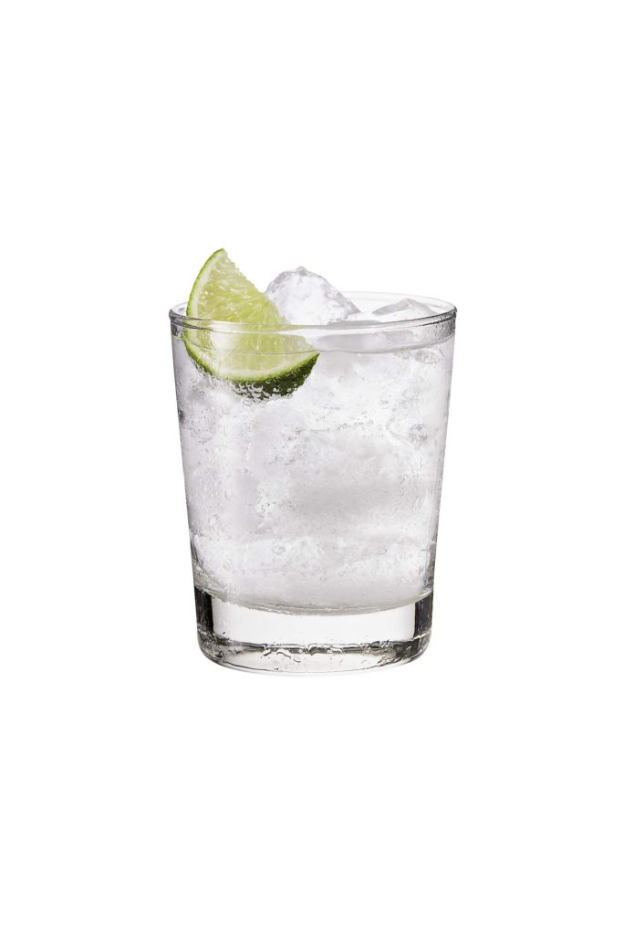 Refreshing Gin and Tonic on White with a Clipping Path