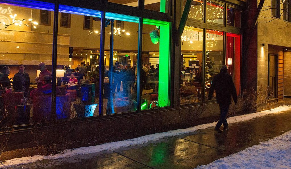 Pride colors light up the Limelight Hotel for Aspen Gay Ski Week on Sunday, January 12, 2020.