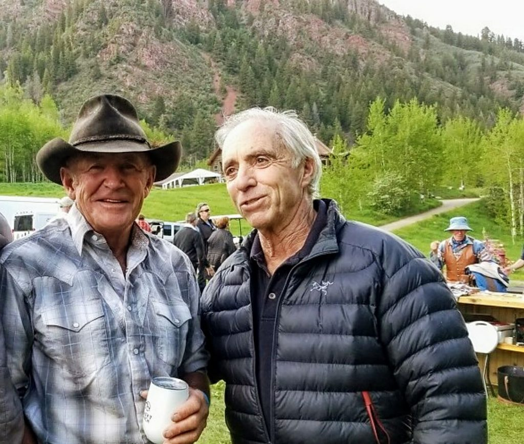 Longtime friends and Mountain Rescue Aspen colleagues Rick Deane (left) and David Swersky chat in June during T-Lazy-7 Ranch's 80 anniversary celebration. The men will be inducted into the Aspen Hall of Fame on Saturday.