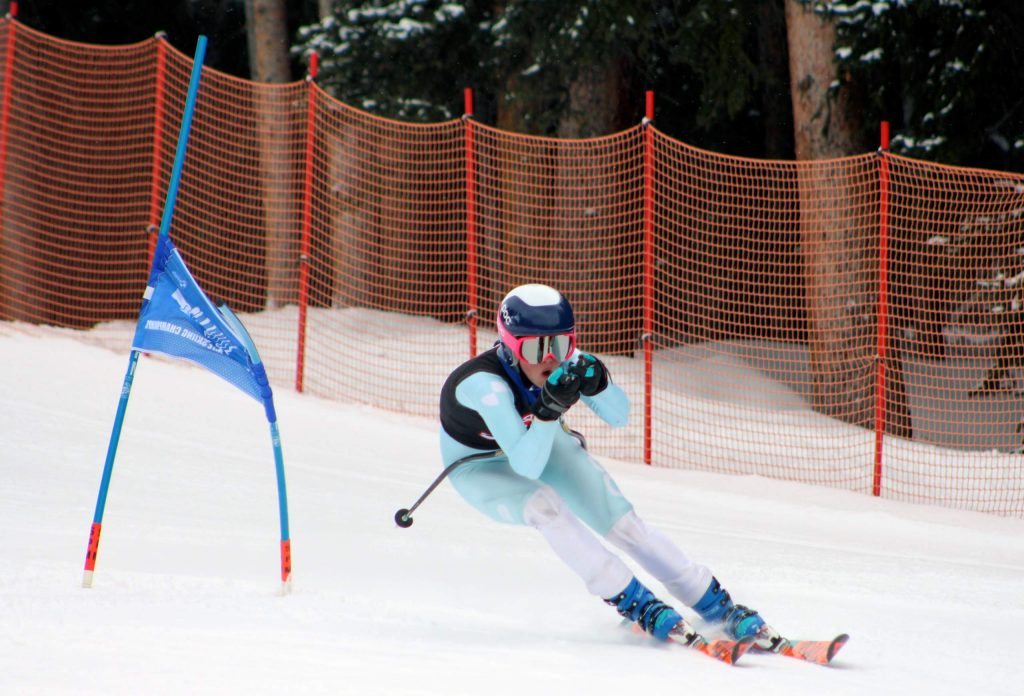 A skier competes in the 2019 state skiing championships.