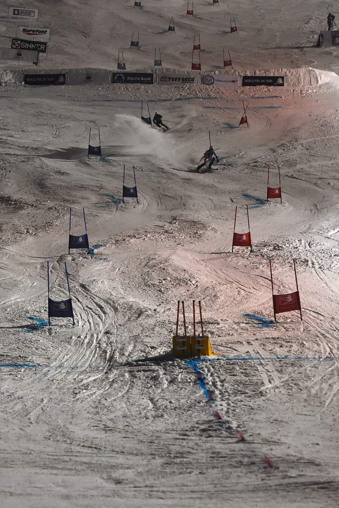 A mix of local and professional slalom skiers competed in a World Pro Ski Tour race at Howelsen Hill on Thursday, Jan. 2.