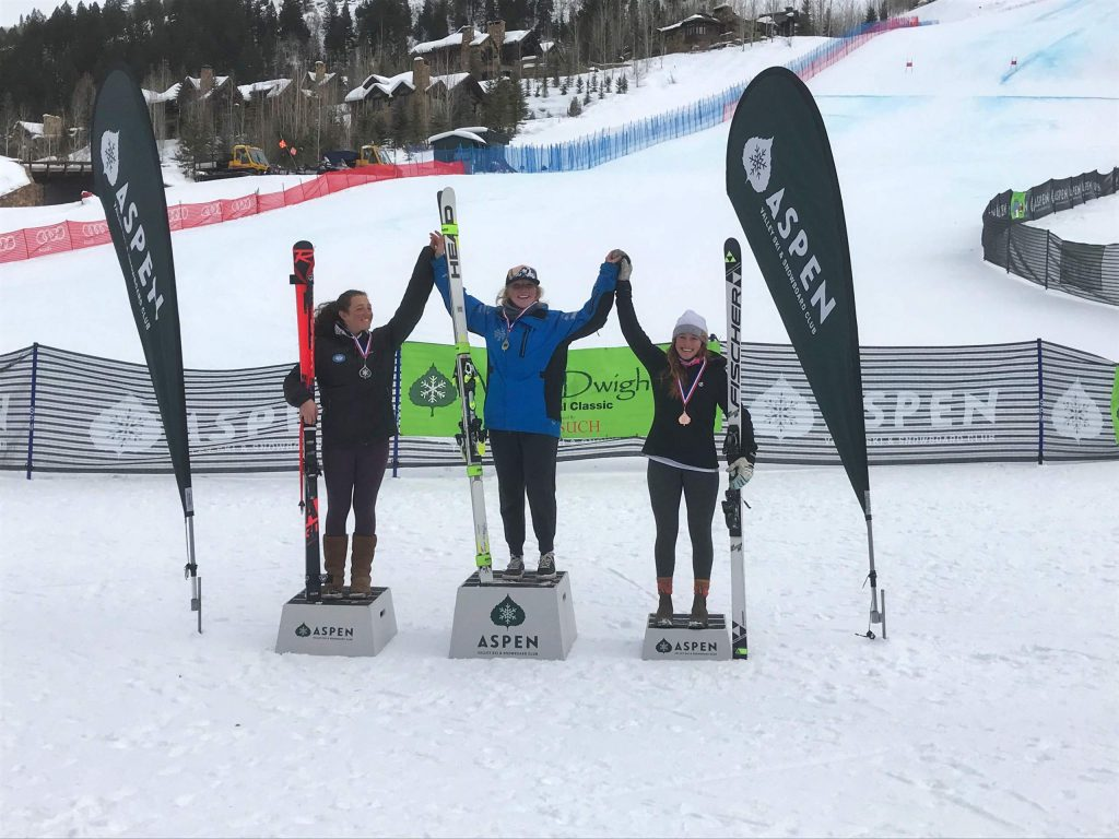 AVSC athlete Elle Murphy, at right, took third in Thursday's women's FIS downhill race at Aspen Highlands.
