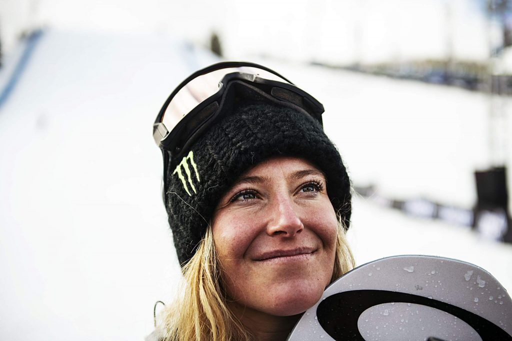X Games gold medalist Jamie Anderson gives an interview after the women's snowboard slopestyle final on Saturday, Jan. 25, 2020.