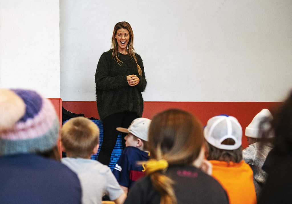 Olympic gold medalist Torah Bright laughs with children at the Aspen Youth Center after talking about her snowboarding career on Thursday, Jan. 9, 2020, at the Aspen Recreation Center. Bright will lead a Mini Shred event at Low Down Park in Snowmass from 11 am. to 2 p.m. on Saturday. (Kelsey Brunner/The Aspen Times)