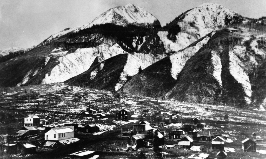 This panoramic shot of Ashcroft was likely taken from Taylor Pass Toll Road from the east of the town. Peter Starck, who is doing extensive research on the Ashcroft, suspects it was taken in October or November 1884 based on the level of development.
