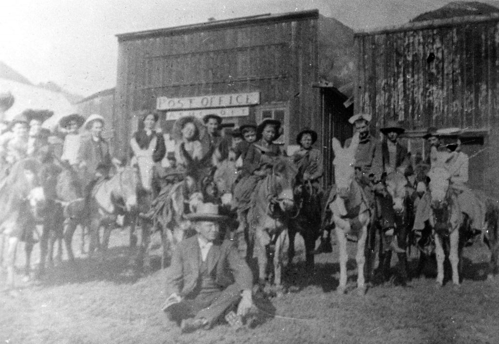 A group gathers in front of the Ashcroft Post Office in a photo taken in about 1900. Ashcroft boomed in the early 1880s and went bust before the decade was out.