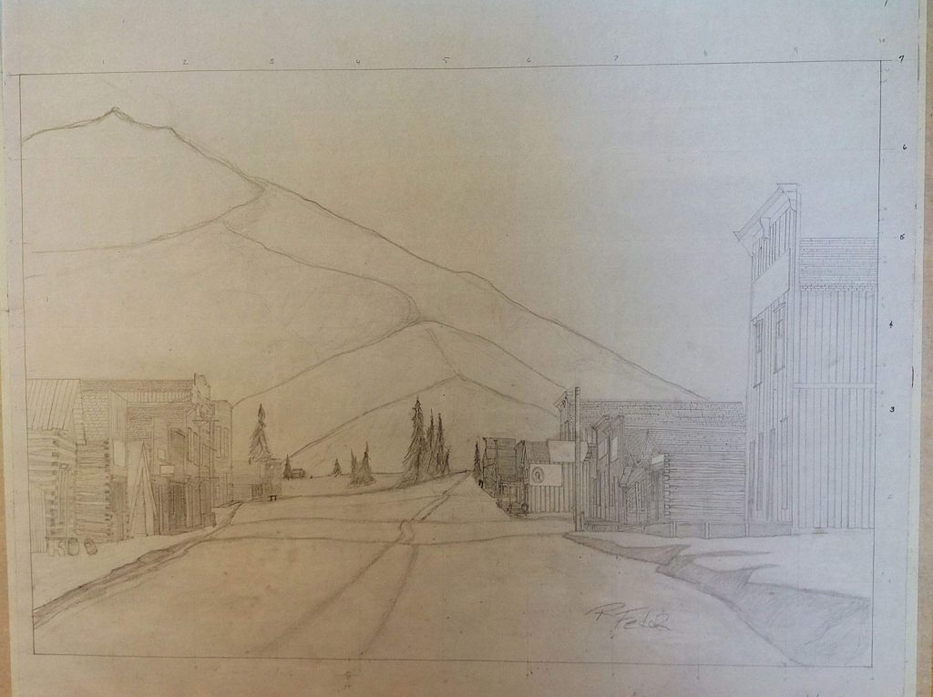Artist and photographer Rob Fedor made this drawing of Ashcroft based on historical photos of the mining town.