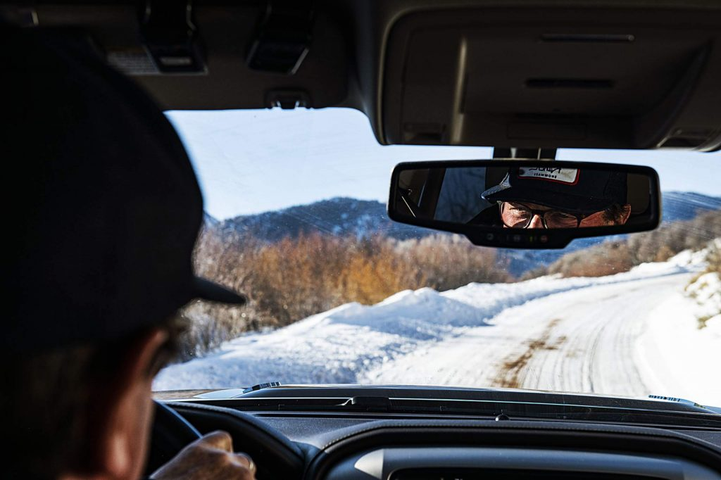 Wildcat Ranch Manager Mike Thomas drives a company vehicle throughout the property on Wednesday, January 15, 2020. Thomas joined the staff in 1990 and has been a part of managing both the property owners and the land. (Kelsey Brunner/The Aspen Times)