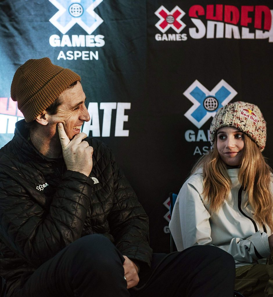 X Games Vice President Tim Reed and Snowboard Slopestyle and Big Air athlete Anna Gasser sit on a panel for a press conference before the official start of the 2020 X Games at Buttermilk on Wednesday, Jan. 22, 2020. (Kelsey Brunner/The Aspen Times)
