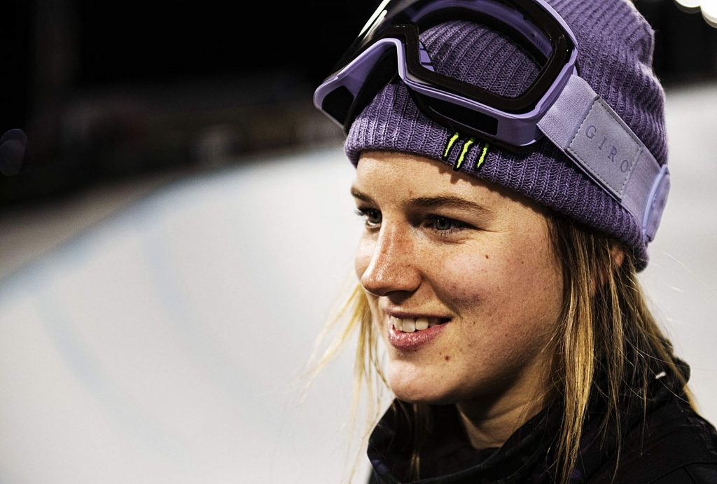 X Games skier Cassie Sharpe stands at the base of the superpipe after the women's ski final. Sharpe finished third overall.