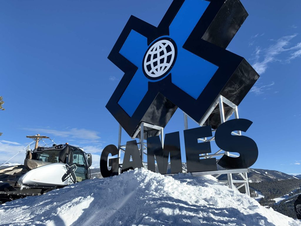 The X Games sign atop Buttermilk Ski Area during X Games Aspen 2020. (Photo by Austin Colbert/The Aspen Times)