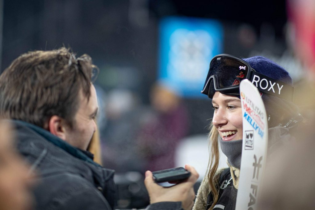 Aspen Times sports editor Austin Colbert, left, interviews Estonian freeskier Kelly Sildaru during X Games Aspen 2020 at Buttermilk Ski Area. (Photo by Anna Stonehouse)