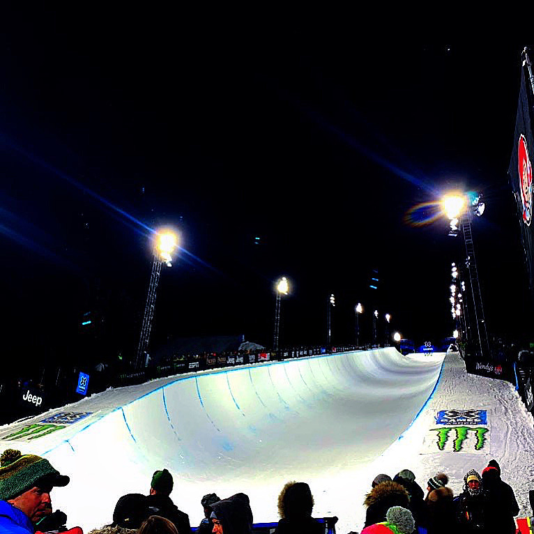 The Buttermilk superpipe under the lights during X Games Aspen 2020. (Photo by Austin Colbert/The Aspen Times)