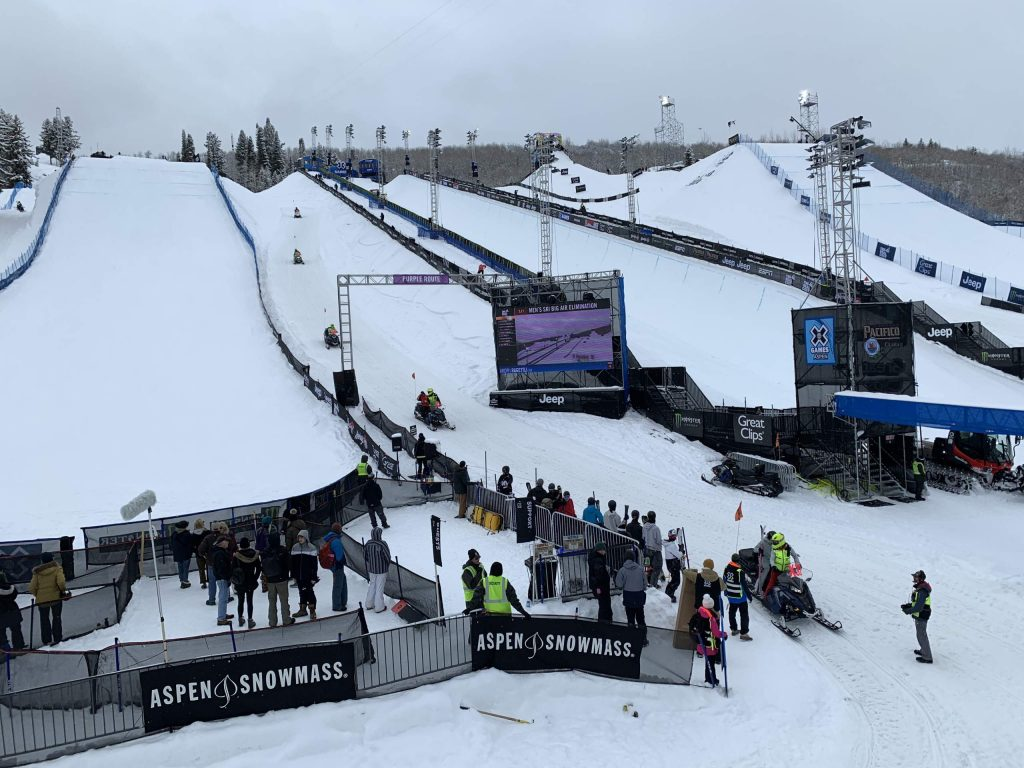 From left, the slopestyle, superpipe and big air venues during X Games Aspen 2020 at Buttermilk Ski Area. (Photo by Austin Colbert/The Aspen Times)