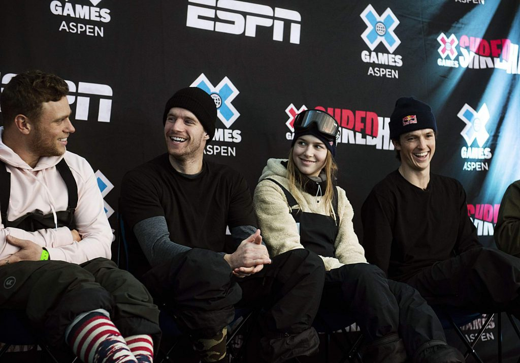Gus Kenworthy, left, Max Parrot, Kelly Sildaru and Scotty James sit on a panel during a press conference at X Games on Wednesday, Jan. 22, 2020.