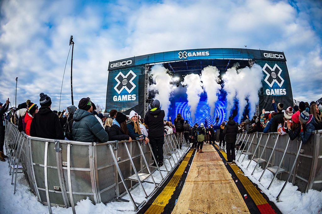 Fans enjoy musical artist Bazzi on Sunday, Jan. 26, 2020, on Buttermilk's Geico Music Stage for the last day of X Games Aspen in Aspen Snowmass, Colo. (Liz Copan/Summit Daily News via AP)