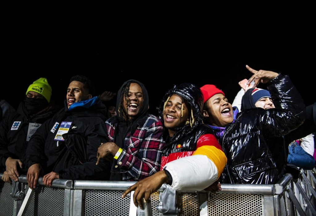 The crowd sings along to the first song of Rae Sremmurd's act at the X Games on Friday, Jan. 24, 2020.