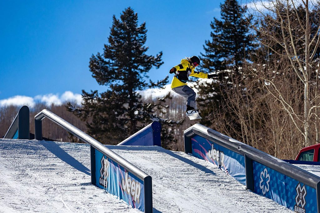 Jesse Paul takes gold in the X Games Aspen men's snowboard rail jam on Sunday, Jan. 26, 2020, at Buttermilk Ski Area in Aspen Snowmass, Colo. (Liz Copan/Summit Daily News via AP)