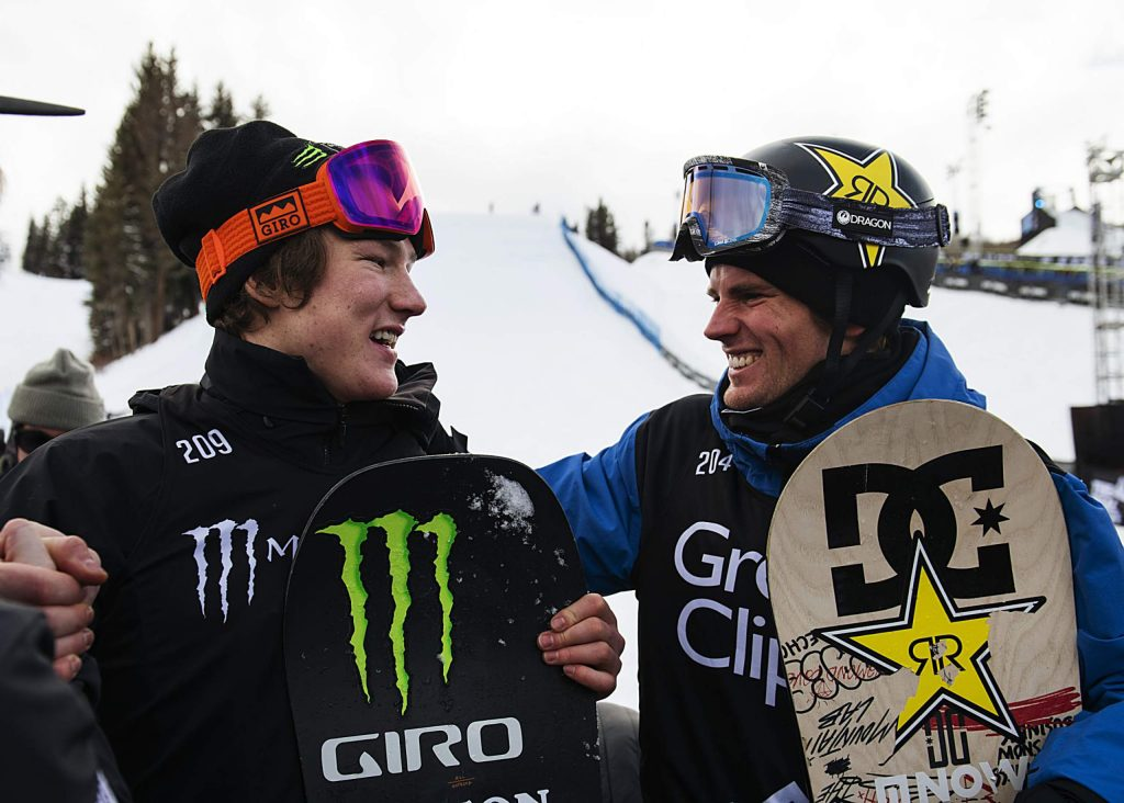 X Games gold medalist Darcy Sharpe, left, and silver medalist Mons Røisland congratulate each other after the men's snowboard slopestyle final on Saturday, Jan. 25.