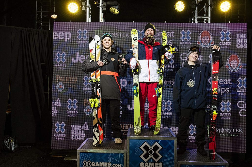 Aaron Blunk, left, Alex Ferreira, and Brendan MacKay stand on the podium with their respective medals on the last night of the X Games in Aspen on Sunday, Jan. 26, 2020. (Kelsey Brunner/The Aspen Times)