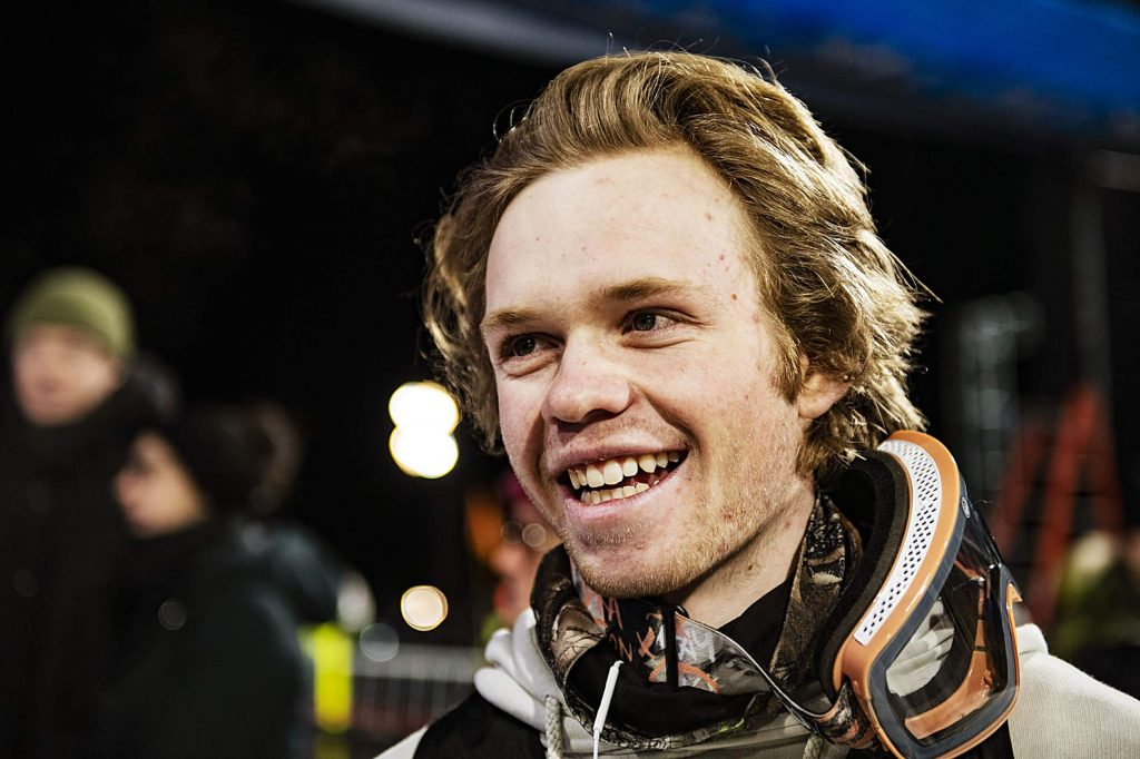 X Games rookie Cassidy Jarrell smiles as he talks about his debut run after the men's qualifying ski superpipe event on Friday, Jan. 24, 2020. (Kelsey Brunner/The Aspen Times)