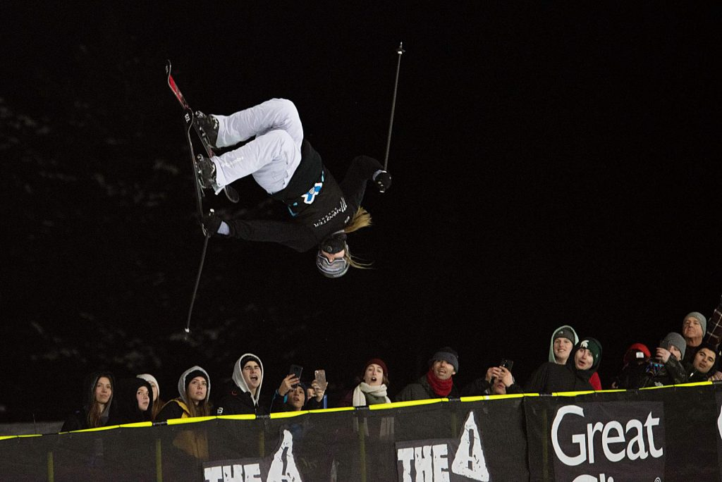 X Games skier Cassie Sharpe competes in the women's ski superpipe finals. Sharpe finished third overall.