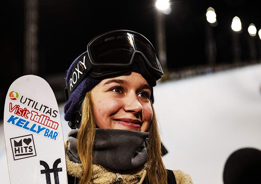 Kelly Sildaru reacts after getting gold in women's ski superpipe at X Games on Saturday, Jan. 25, 2020.