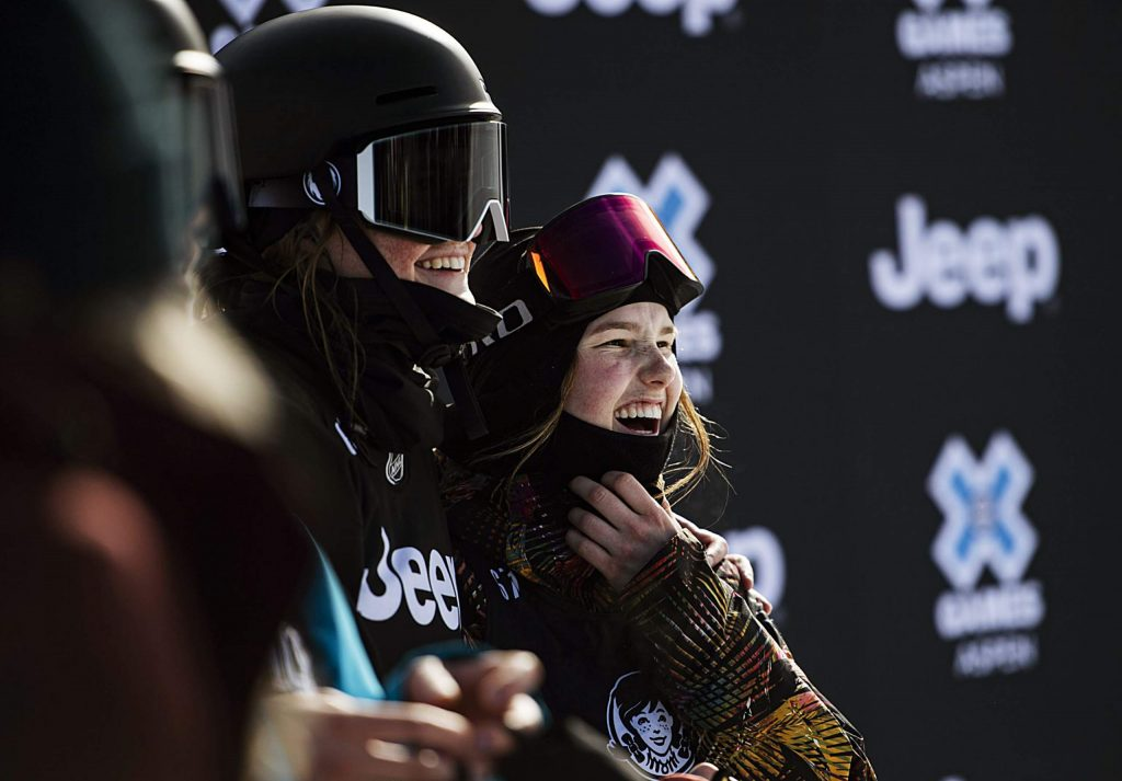 X Games skiers Caroline Claire, left, and Megan Oldham watch the last runs of the women's slopestyle final on Sunday, Jan. 26, 2020. (Kelsey Brunner/The Aspen Times)