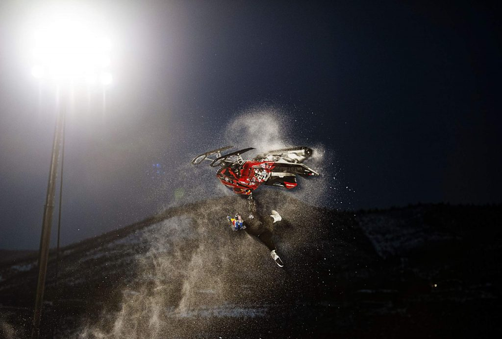 X Games athlete Daniel Bodin competes in his second run of the Snowmobile Freestyle Final on Friday, Jan. 24, 2020. Bodin was the returning gold medalist and finished second this year. (Kelsey Brunner/The Aspen Times)