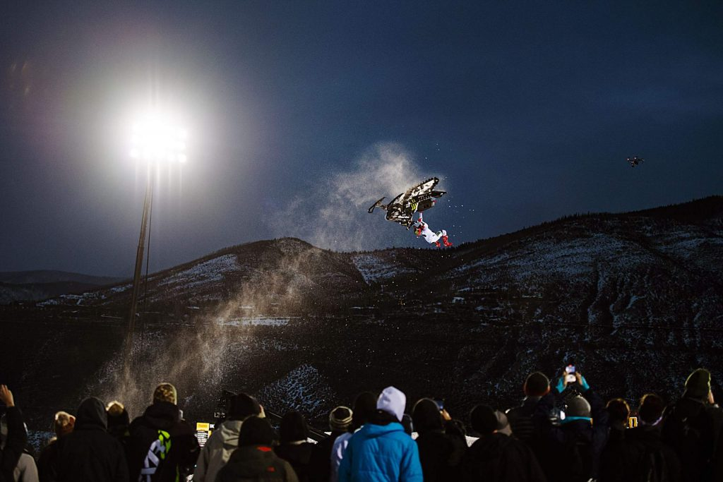 Brett Turcotte competes in the Snowmobile Freestyle Final on Friday, Jan. 24, 2020. (Kelsey Brunner/The Aspen Times)