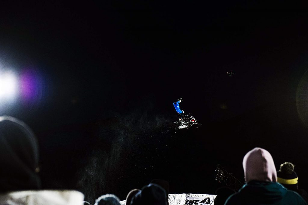 Willie Elam competes in the Snowmobile Freestyle Final on Friday, Jan. 24, 2020. Elam took home the bronze. (Kelsey Brunner/The Aspen Times)