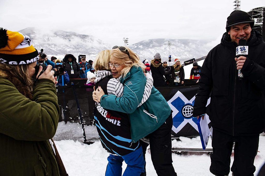 Athlete Daina Shilts, left, hugs her mother Jan Shilts after winning gold in her slalom ski race during the X Games Special Olympics Unified event on Thursday, Jan. 23, 2020. Jan surprised her daughter two hours before the race. She expressed how hard Daina had worked for the victory.(Kelsey Brunner/The Aspen Times)