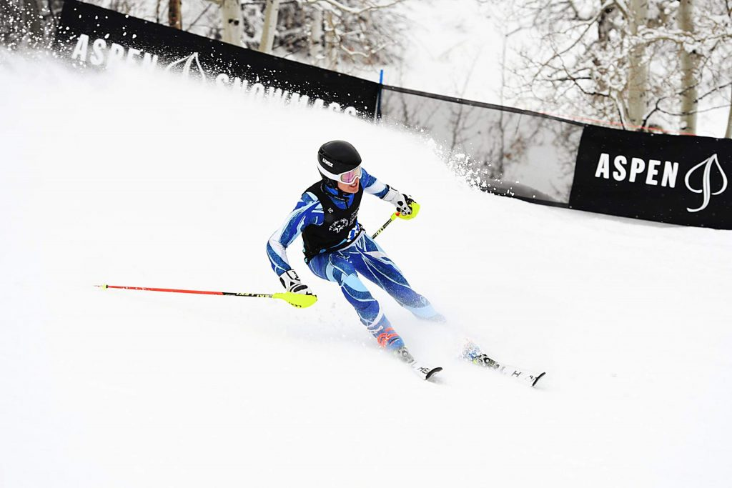 Palmer Lyons skis to the bottom during the X Games Special Olympics Unified ski event on Thursday, Jan. 23, 2020. Lyons and Gus Kenworthy won the first year that skiing was introduced in this event. (Kelsey Brunner/The Aspen Times)