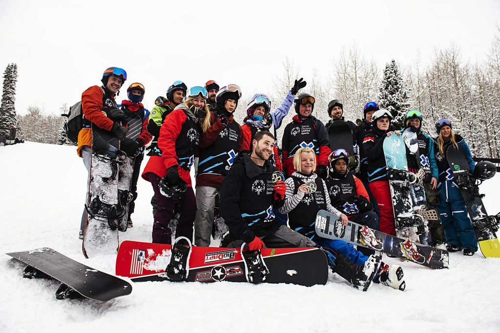 The X Games Special Olympics Unified slalom ski racers pose for a group photo after their event on Thursday, Jan. 23, 2020. (Kelsey Brunner/The Aspen Times)