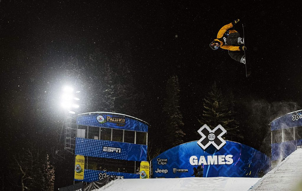 Taylor Gold competes in the qualifying round of the Men's Snowboard Superpipe event during the 2020 X Games on Wednesday, Jan. 22, 2020. Gold finished second and will be competing in the finals on Thursday night.