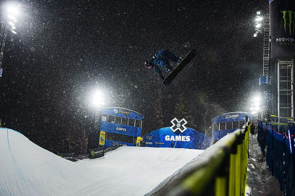 X Games snowboarder David Habluetzel competes in the Men's Snowboard Superpipe qualifier on Wednesday, Jan. 22, 2020.