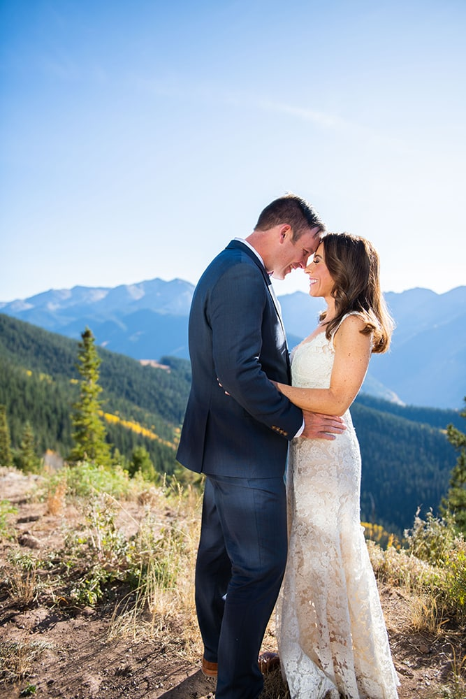 Mr. and Mrs. Jesse Bouchard at their Aspen Mountain reception.