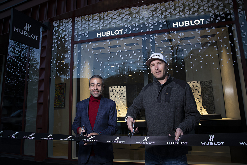 Jean-Francois Sberro and Bode Miller at the ribbon cutting ceremony for Hublot Aspen's official opening.
