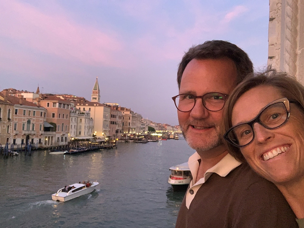 Together for 27 years, married for 20, John Rowland and Sarah Broughton love to travel, seen here in Venice last fall. They'll be back there soon participating in the Venice Architectural Biennale in 2020.