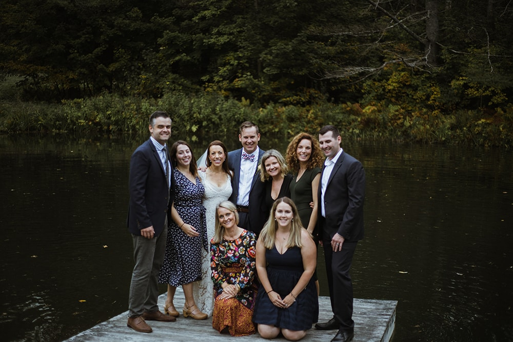Vermont wedding guests included (clockwise from top left) Greg and Kristen Garvin, the bride and groom, Katie Drasser, Allison Lassiter; Katie Drasser; Steve and Amanda Bednarski and Charlotte Porter.